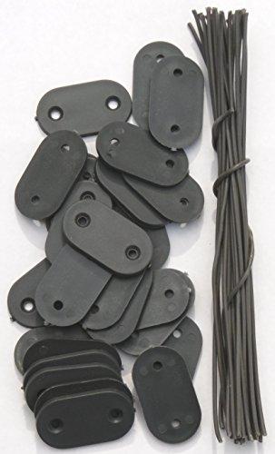 EXCOLO Befestigung Montage-Plättchen Draht Kabelbinder für PVC Sichtschutz Blickschutz (26 Plättchen grau)