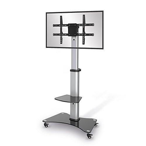 conecto® LM-FS01A Premium TV-Ständer Standfuß für Flachbildschirm LCD LED Plasma höhenverstellbar 37-70 Zoll (94-178 cm, bis 40 kg) max. VESA 600x400mm, Aluminium, Silbergrau/schwarz