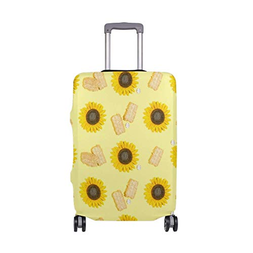 IUBBKI Travel Luggage Cover Yellow Sunflower Cake Suitcase Protector FitSch Washable Baggage Covers