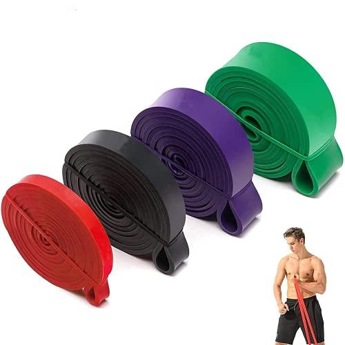 Resistance Band Heavy Fitnessbänder Set aus Naturlatex Gymnastikband in 4 verschiedenen Stärken Widerstandsbänder als Widerstand und Unterstützung für Klimmzughilfe mit Übungsanleitung