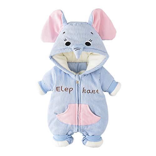 MMYYIP Salopettes bébé Salopette rembourré à Capuche éléphant Chaud épais à Capuchon pour bébés et Pieds Pantalons Salopettes Tombent et Paquets de vêtements d'hiver,Bleu,S