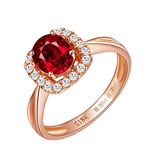 Bishilin Anillos de Boda Oro Rosa 750 Clásico Bandas de Boda Rojo Rubí Diamante Anillo de La Banda de Bodas de Compromiso de Aniversario Forma Ovalada Anillo de Boda de Aniversario Rojo