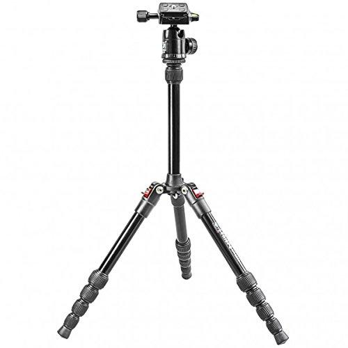 Impulsfoto Dreibein Reisestativ Alu (Hoehe: 130 cm, Gewicht: 0,78 kg, Belastbarkeit: 7kg) schwarz mit Stativkopf | Stativ Triopo MT-2205 + Stativkopf Triopo KJ-1S