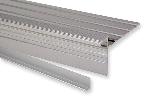 Trepsa Treppenkantenprofil Profil 1 mit Abschluss-Clip | Aluminium eloxiert (1300 mm, Silber)