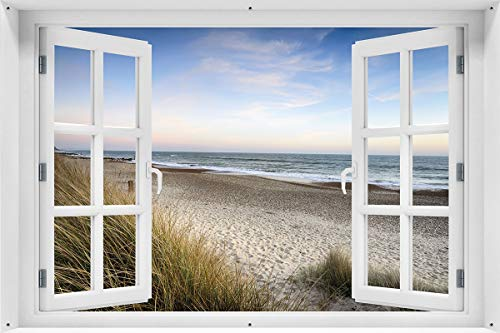 Wallario Garten-Poster Outdoor-Poster - Strandspaziergang im Urlaub an der Ostsee in Premiumqualität, Größe: 61 x 91,5 cm, für den Außeneinsatz geeignet