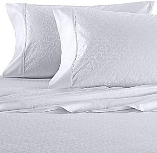 Wamsutta 625-Thread Count PimaCott Scroll King Sheet Set in White