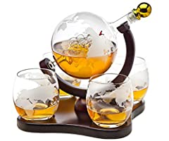 Hand blown elegant whiskey decanter dispenser featuring an etched globe design and antique ship in the bottle will undoubtedly enhance your drinking experience while making a bold impression. Set includes whisky decanter with 4 matching globe design ...