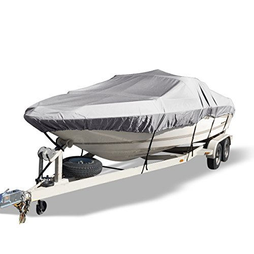 YITAMOTOR Waterproof Boat Cover, All Seasons Outdoor Protector Aluminium Film Composite Cotton Compatible for V-Hull with Quick Release Buckle and Strap (Gray, Fit 14'-16'L x 90' Beam Width)