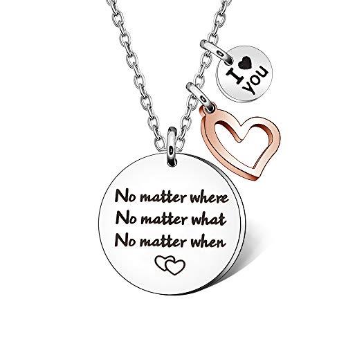 Collar de acero inoxidable con inscripción en inglés «No Matter Jewellery for Women Girl I Love You» para relación de larga distancia