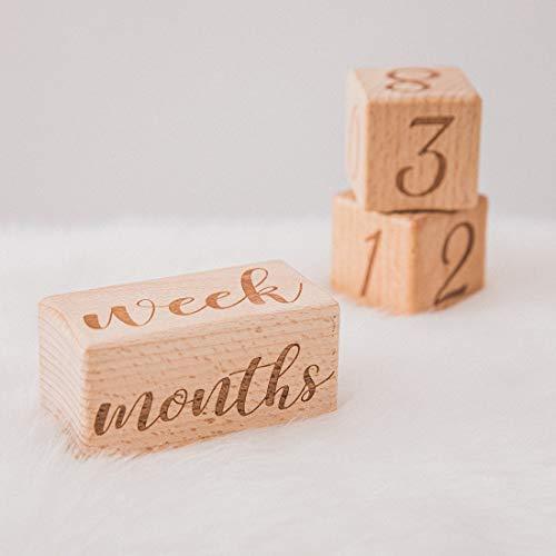 Promise Babe Baby Age Blocks Milestone di legno per Foto e Gioco Fotografia Props Decor Neonati Regali
