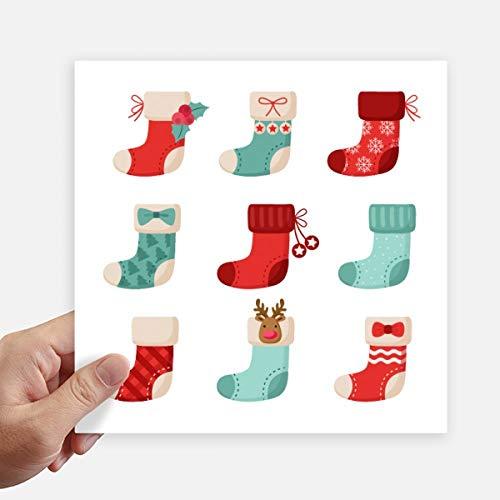 DIYthinker Joyeux Noël Sock coloré Illustration Autocollant carré de 20 cm Mur Valise pour Ordinateur Portable Motobike Decal 4Pcs 20cm x 20cm Multicolor