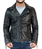 Photo de Elegance Leather Mens Woman Vintage Black Biker Leather Jackets