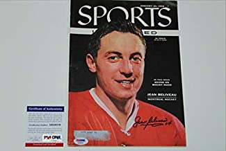 Jean Beliveau Autographed Signed 1/23/56 Sports Illustrated PSA/DNA Authenticated Coa