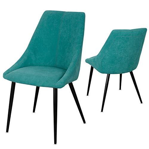 Staboos Stühle 8er Set CH80 - Hochwertiger Polsterstuhl bis zu 150 kg belastbar - Strapazierbarer Stoff Sessel - Premium Dining Chair - leicht montierbare Esszimmerstühle (Türkis)