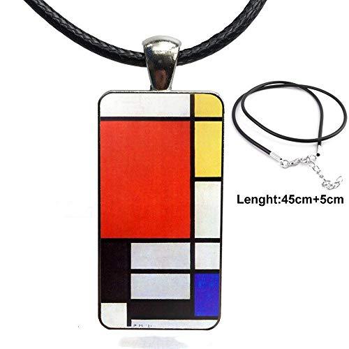 Bauhaus Stil Abstrakte Glas Anhänger Halskette Handgemachte Halbe Anhänger Rechteck Halskette Für Mädchen