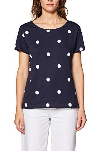 edc by ESPRIT Damen 039CC1K047 T-Shirt, Blau (Navy 400), Medium (Herstellergröße: M)