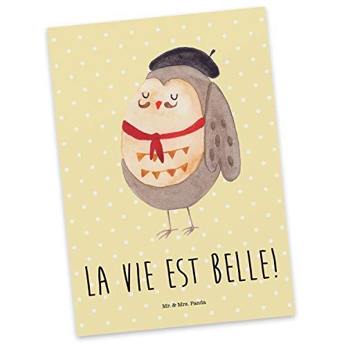 Mr. & Mrs. Panda Einladung, Ansichtskarte, Postkarte Eule Französisch mit Spruch - Farbe Gelb Pastell