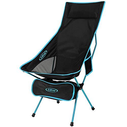 G4Free - Silla de Camping portátil y Ligera, Plegable, con Respaldo Alto, con reposacabezas y Bolsillo para Deportes, Picnic, Playa, Senderismo, Pesca, Azul