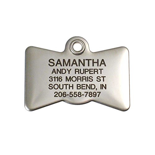 LuckyPet Pet ID Tag - Stainless Steel Bowtie - Custom Engraved Dog & cat ID Tags. Pet Safety tag has Reflective Sticker on Back. Size: Small