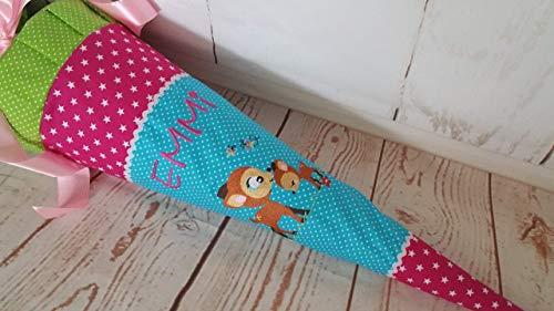 #253 Schultüte Reh Rehkitz Kitz Mama+Kind Zuckertüte Schultüte Stoff + Papprohling + als Kissen verwendbar