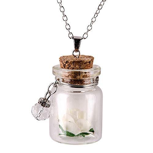 RTYU Nuevo 2020 Resplandor en el Vidrio Oscuro Flor pequeña Botella Deseando Vial Adornos Colgantes Collar de Cadena de Coches (Color Name : White)