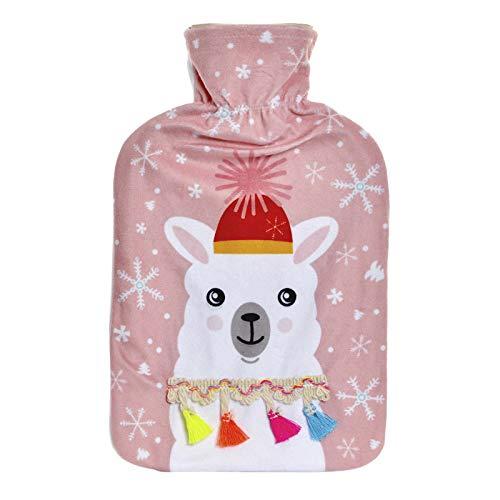 Bolsa de Agua Caliente de Goma, con Funda de Poliester. Diseño de Llama/Alpaca, con Estilo Moderno - Hogar y Más - Rosa Claro