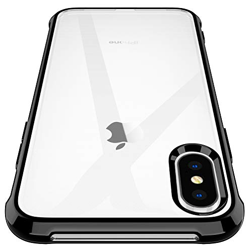 Garegce Coque iPhone XS, Coque iPhone X Transparente Placage Silicone [Verre Trempé Protecteur] Souple Ultra Mince Antichoc, Anti-Rayures Léger TPU Bumper Etui pour iPhone X/XS 5.8' - Noir
