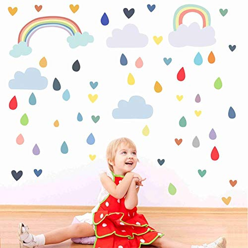 Autocollant Mural New Creative Raindrop Rainbow Chambre D'enfants Décoration Graffiti Salon Chambre Murale