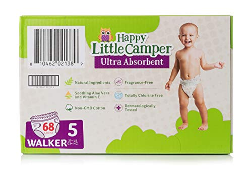 Happy Little Camper Ultra Absorbent Premium Natural Diapers, Size 5, 68 Count