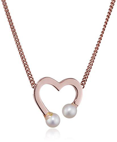 Caï–Collana da donna con ciondolo Pearl Love argento 925placcato oro taglio rotondo perle d' acqua dolce bianco 44cm–c7161N/90/46/39+ 5