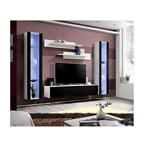 ASM Banc TV avec LED - 6 éléments - Noir et Blanc