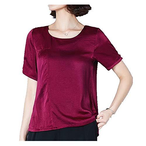 NOBRAND Verano nuevo color sólido satén Top camiseta cuello redondo manga corta tamaño grande suelto y delgado desgaste de las mujeres