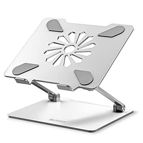 BoYata ノートパソコン スタンド ミニ スタンド PCスタンド パソコンスタンド タブレットスタンド 無段階高さ調整 人間工学 姿勢改善 腰痛/猫背解消 滑り止め付き 放熱対策 折りたたみ式 軽量 在宅勤務・リモートワーク Macbook/Macbook Air/Macbook Pro/iPad/ノートPCなど14インチまでに対応 シルバー
