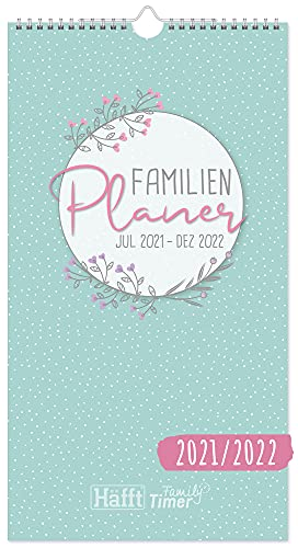 FamilienPlaner 2021/2022 mit 5 Spalten, 22,5 x 42 cm [Blumen] Wandkalender 18 Monate: Jul 21 - Dez 22   Familienkalender Wandplaner: Ferientermine & viele Zusatzinfos   klimaneutral & nachhaltig