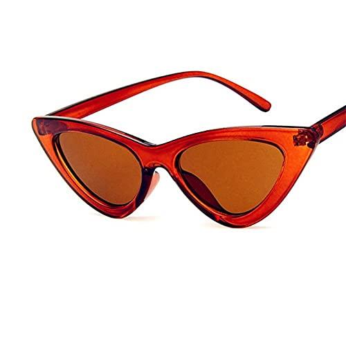 LOPIXUO Gafas de sol Gafas de sol vintage para mujer, gafas de sol retro con forma de ojo de gato,para mujer, transparentes, marrones