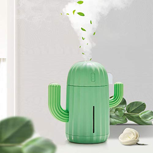 YINGJEE Mini Humidifier Single Room Humidifiers with Night Light Portable Cactus Air humidifier for for Yoga, Office, spa, Bedroom,Baby Room,Silica Gel Diffuser for tap Water only(Green)