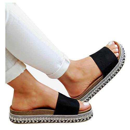 Dasongff Damen Sandaletten Pantoletten mit Plateau Strass Bast Strandsandalen Leoparden Sommerschuh Flip Flops Sandals Keilsandaletten Espadrilles Elegante