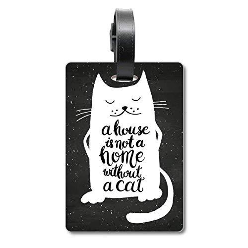 Etichetta per valigia con scritta in lingua inglese 'Cat in Home', colore: nero e bianco