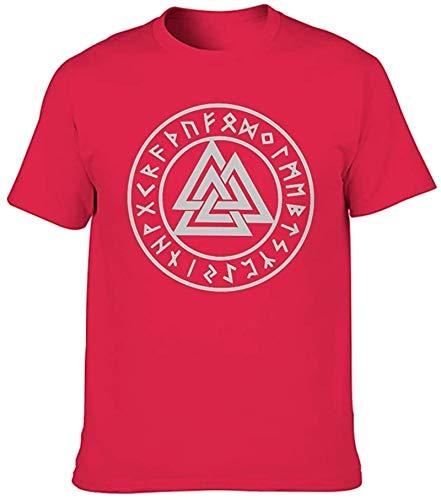 sdfa Valknut Skandinavian Runes Totem Viking Odin Print Men's T Shirt Regular Fit Ethnic Summer Activewear,Red,X-Large