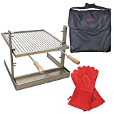 SpitJack Portable Camping and Fireplace Grill Bundle. All Stainless Steel Argentine Santa Maria Cooking Grate and Drip Pan. 17 X 15 Inch Tuscan Grill, Grill Bag and Grill Gloves