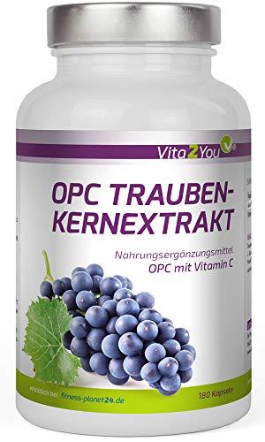 OPC Traubenkernextrakt mit Vitamin C - 180 Kapseln - 179mg pro Kapsel reines OPC - entspricht 59,7{b6bd65f5604bc91039a1bcd64f3522b270cd62f999b0f50133dcf7f4e0bb98d4} OPC-Anteil - Hochdosiert - Premium Qualität