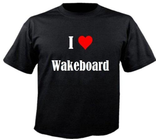 Kinder T-Shirt I Love Wakeboard Größe 140 Farbe Schwarz Druck Weiss