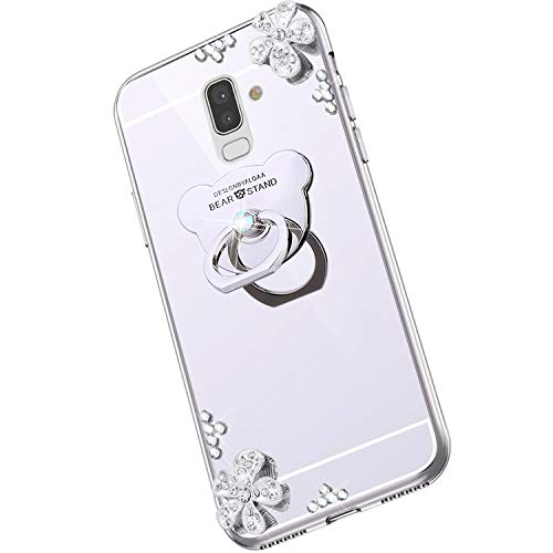 Saceebe Compatible avec Samsung Galaxy J8 2018 Coque Élégant Bling Bling Housse Clear View Miroir Coque Brillante Diamant Paillette Strass Silicone TPU Étui Rotation Bague Support,Argent