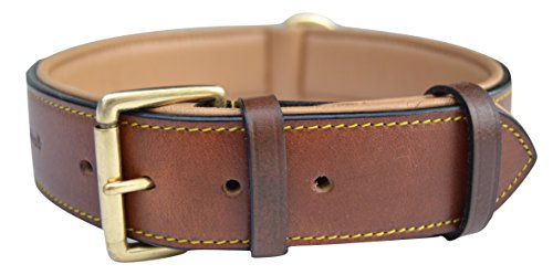 Soft Touch Collars Real Leather Padded Dog Collar, XL Brown, 28' Inches Long x 1.75' Inches...