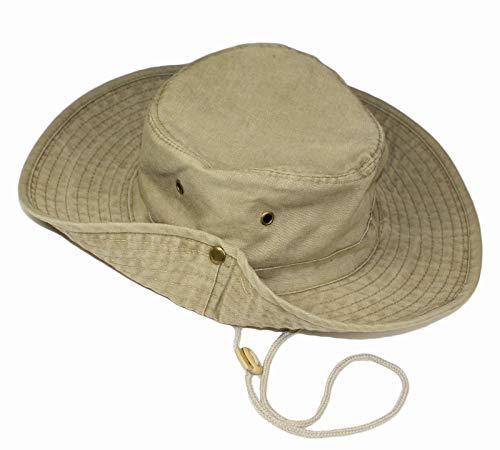 TOSKATOK UPF 50+ Unisex Safari Outback Australischer Buschhut mit breiter Krempe, Kinnriemen, seitlichen Druckknöpfen und Lüftungsschlitzen, aus Baumwolle-Khaki