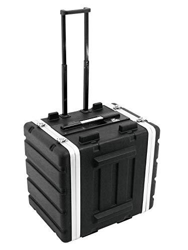 Roadinger Kunststoff-Rack 19, 7HE, DD mit Trolley, schwarz | Hartschalen-Flightcase für 483-mm-Geräte (19