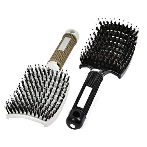 2 Stück Haarstyling Bürste, Haarbürsten zum Entwirren und Massieren Entwirrungsbürste, Entlüftungshaarbürste für Nasses Oder Trockenes Haar, Gebogen Haarbürste für Damen, Herren
