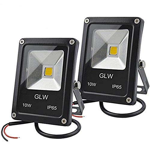 GLW 12V AC or DC LED Flood Light,10W Mini IP65 Waterproof Outdoor Light,900LM,3000K,Warm White Security Light,80W Halogen Bulb Equivalent with Spike Stand [2 Pack]
