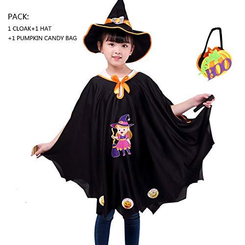 JCT Halloween Mantello per Bambini 4-10 Anni Strega Mantello con Cappello Zucca Borsa per Caramelle Unisex Mantello Bambini Costumi di Halloween Cosplay Festa (Nero, 4-10Anni)