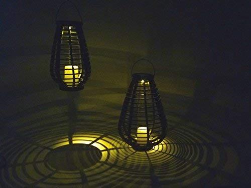 """2 x LED-Solarleuchten-Gartenleuchte\""""Riss\"""" H:30cm/40cm Solar-Laterne Rattan-Optik schwarz Solar-Tisch-Balkon-Terrassen-Boden-Mauer-Treppen-Camping-Dekorations-Party-Weihnachts-Leuchte"""